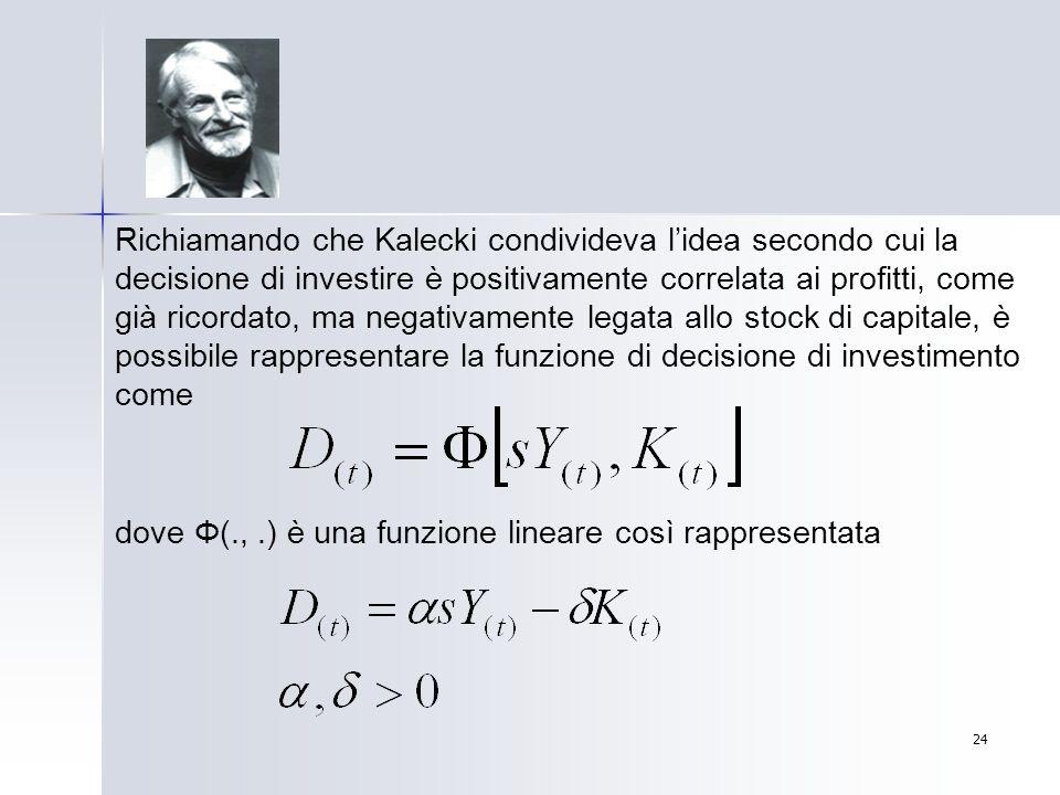 24 Richiamando che Kalecki condivideva lidea secondo cui la decisione di investire è positivamente correlata ai profitti, come già ricordato, ma negat