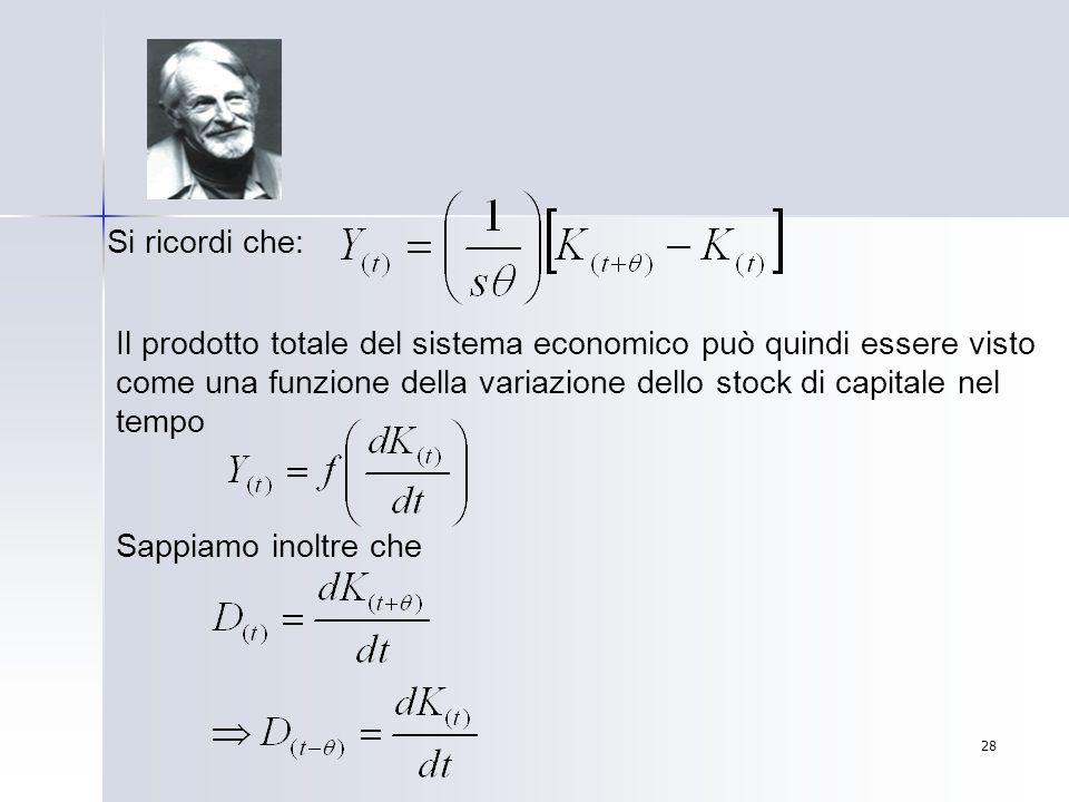 28 Si ricordi che: Il prodotto totale del sistema economico può quindi essere visto come una funzione della variazione dello stock di capitale nel tem