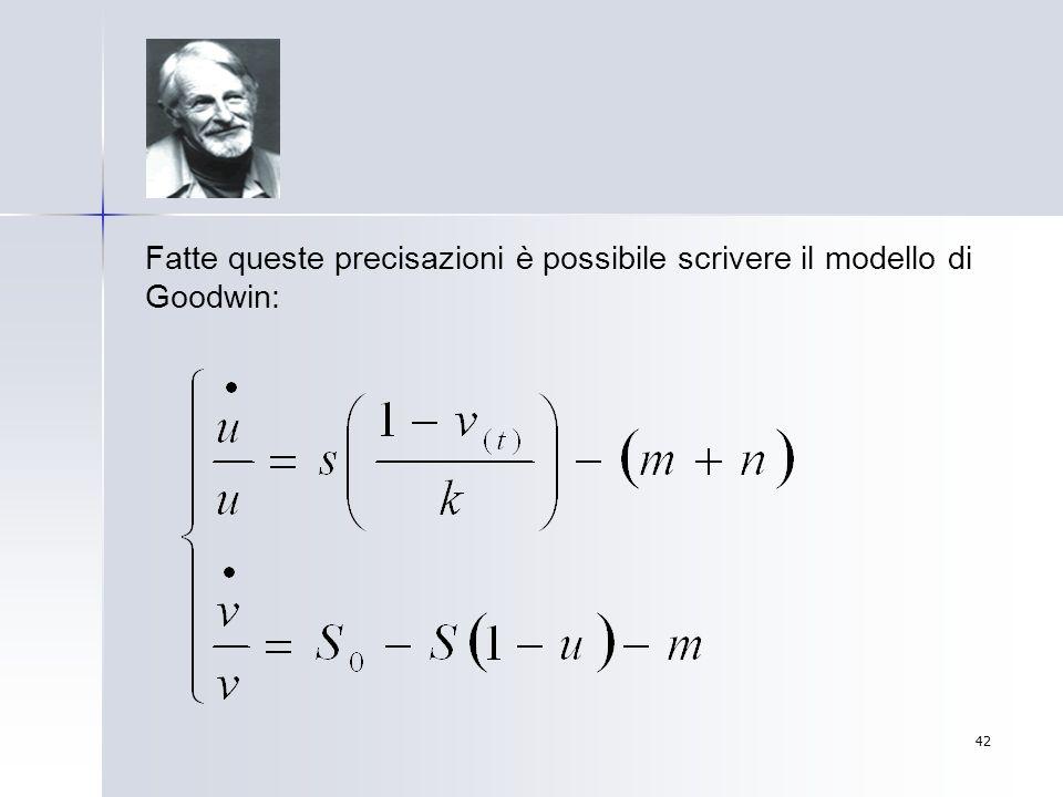 42 Fatte queste precisazioni è possibile scrivere il modello di Goodwin: