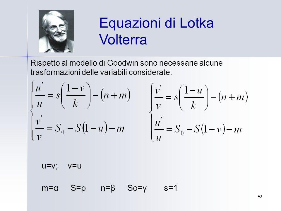 43 u=v; v=u Equazioni di Lotka Volterra Rispetto al modello di Goodwin sono necessarie alcune trasformazioni delle variabili considerate. m=α S=ρ n=β