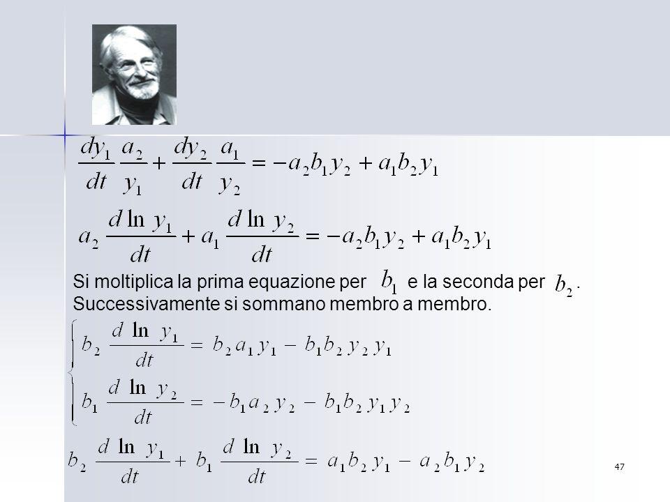 47 Si moltiplica la prima equazione per e la seconda per. Successivamente si sommano membro a membro.