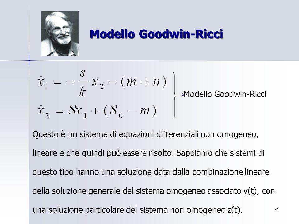 64 Modello Goodwin-Ricci Modello Goodwin-Ricci Modello Goodwin-Ricci Questo è un sistema di equazioni differenziali non omogeneo, lineare e che quindi
