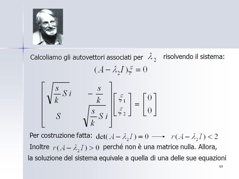 69 Calcoliamo gli autovettori associati per risolvendo il sistema: Per costruzione fatta: Inoltreperché non è una matrice nulla. Allora, la soluzione