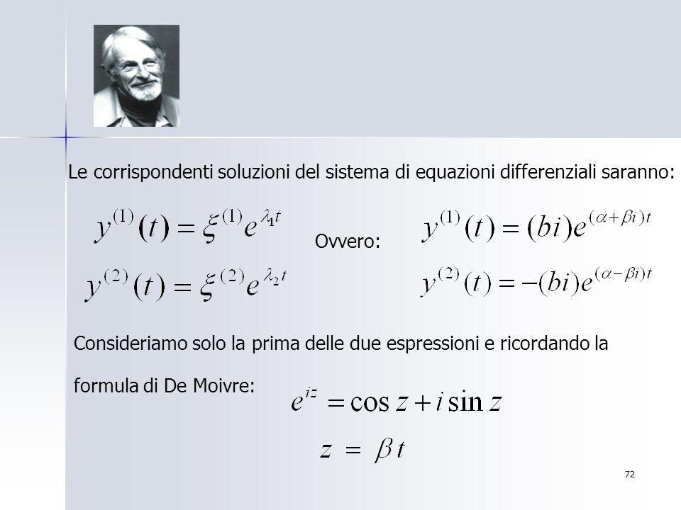 72 Le corrispondenti soluzioni del sistema di equazioni differenziali saranno: Ovvero: Consideriamo solo la prima delle due espressioni e ricordando l