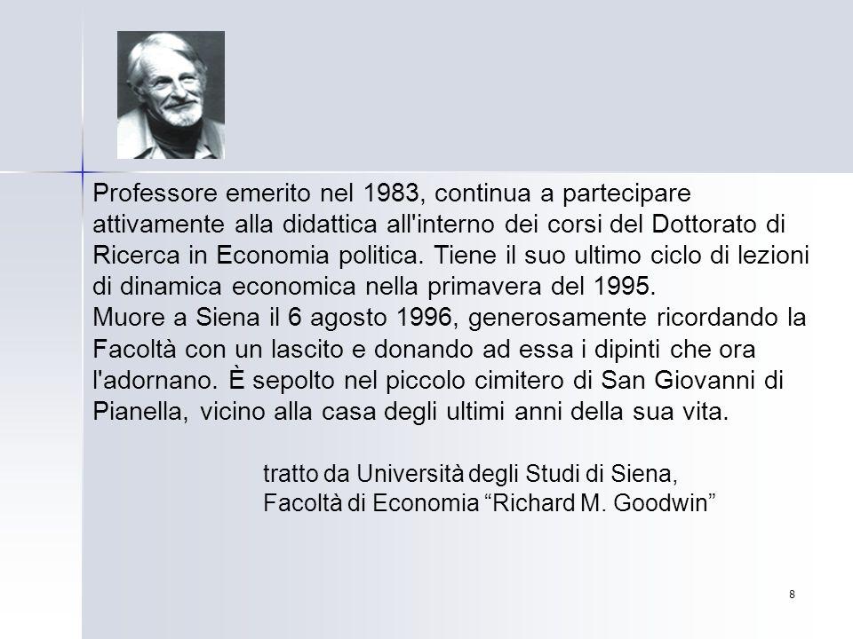 8 Professore emerito nel 1983, continua a partecipare attivamente alla didattica all'interno dei corsi del Dottorato di Ricerca in Economia politica.