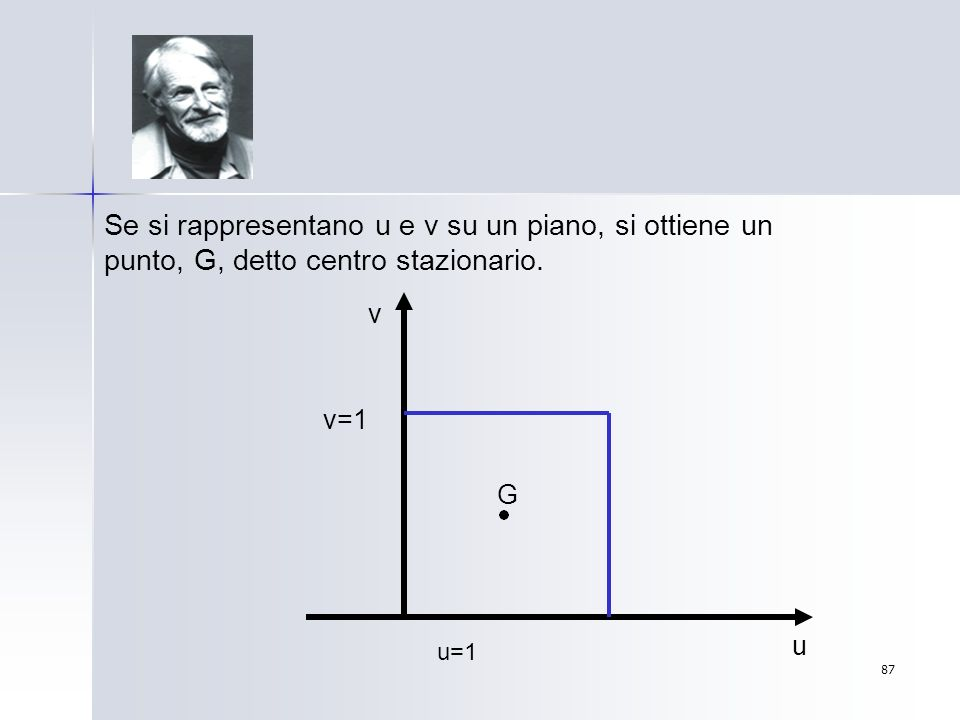87 Se si rappresentano u e v su un piano, si ottiene un punto, G, detto centro stazionario. u v v=1 u=1 G