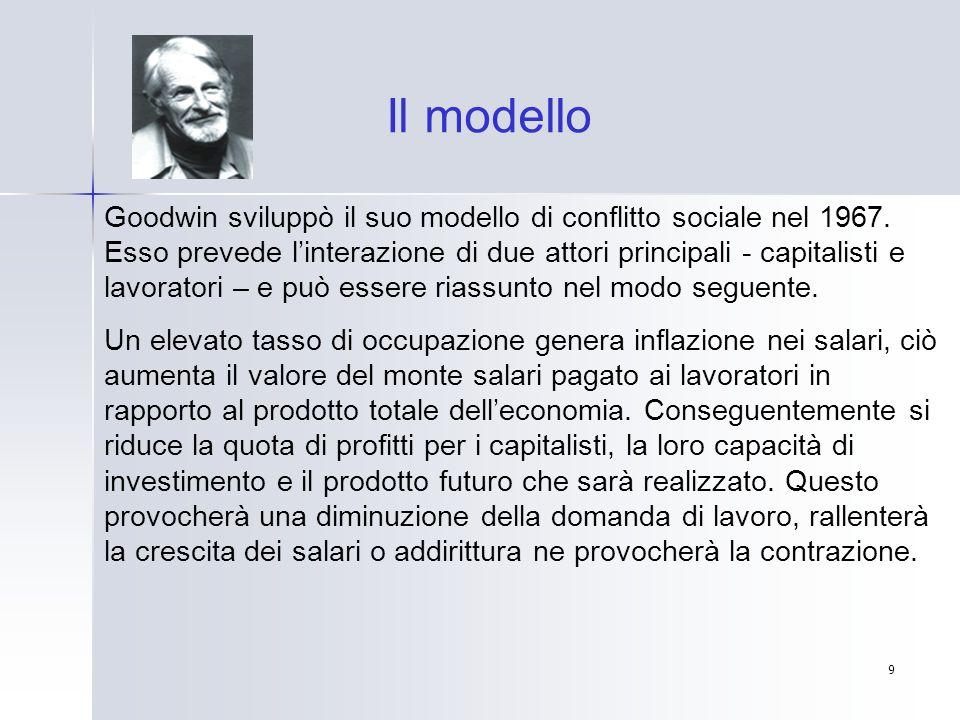9 Goodwin sviluppò il suo modello di conflitto sociale nel 1967. Esso prevede linterazione di due attori principali - capitalisti e lavoratori – e può