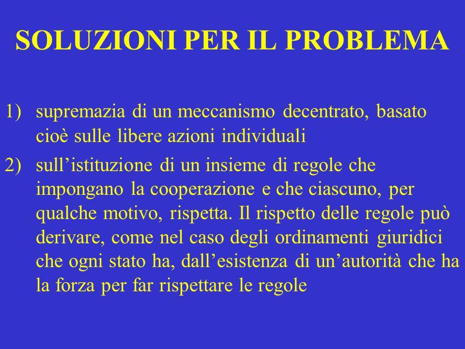 SOLUZIONI PER IL PROBLEMA 1)supremazia di un meccanismo decentrato, basato cioè sulle libere azioni individuali 2)sullistituzione di un insieme di reg