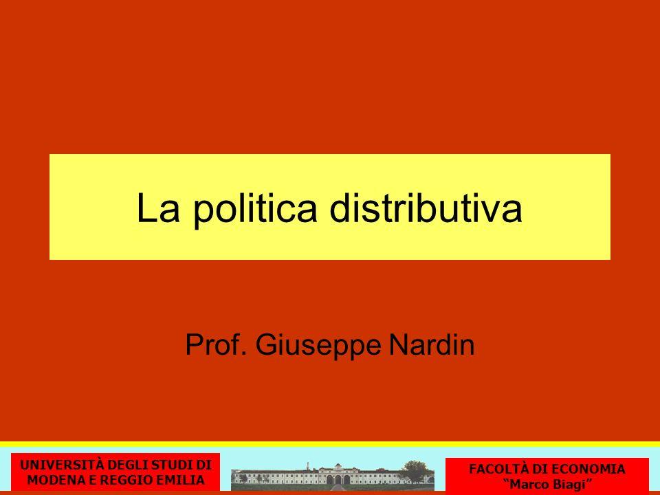 La politica distributiva UNIVERSITÀ DEGLI STUDI DI MODENA E REGGIO EMILIA FACOLTÀ DI ECONOMIA Marco Biagi Prof. Giuseppe Nardin