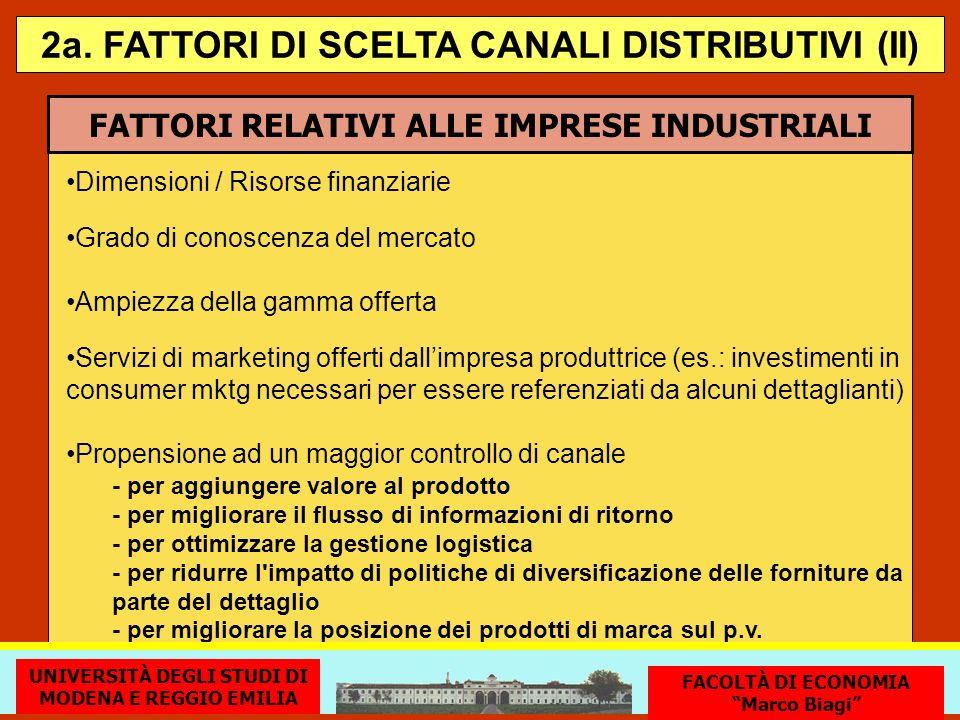 FATTORI RELATIVI ALLE IMPRESE INDUSTRIALI Dimensioni / Risorse finanziarie Grado di conoscenza del mercato 2a. FATTORI DI SCELTA CANALI DISTRIBUTIVI (
