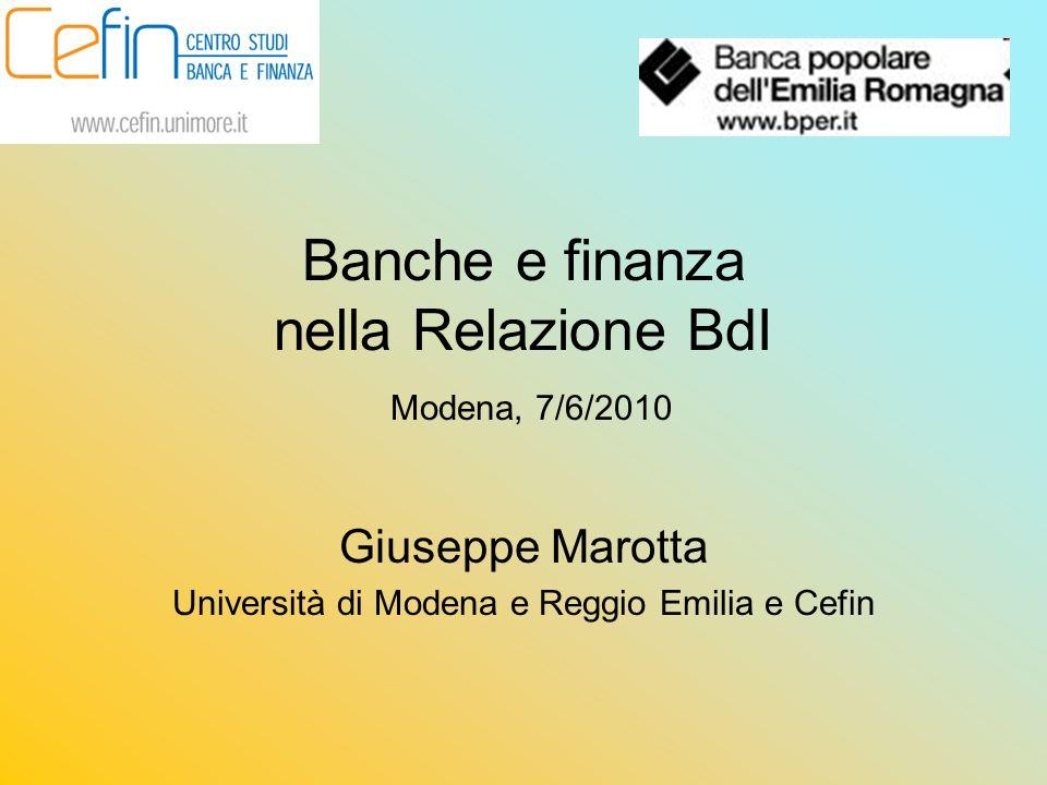 Banche e finanza nella Relazione BdI Modena, 7/6/2010 Giuseppe Marotta Università di Modena e Reggio Emilia e Cefin