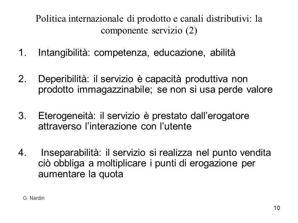 10 Politica internazionale di prodotto e canali distributivi: la componente servizio (2) 1.Intangibilità: competenza, educazione, abilità 2.Deperibili