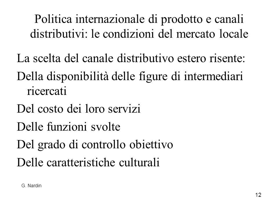12 Politica internazionale di prodotto e canali distributivi: le condizioni del mercato locale La scelta del canale distributivo estero risente: Della