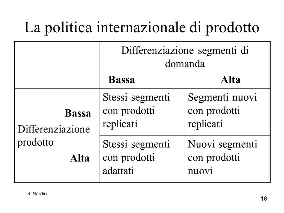 16 La politica internazionale di prodotto Differenziazione segmenti di domanda Bassa Alta Bassa Differenziazione prodotto Alta Stessi segmenti con pro
