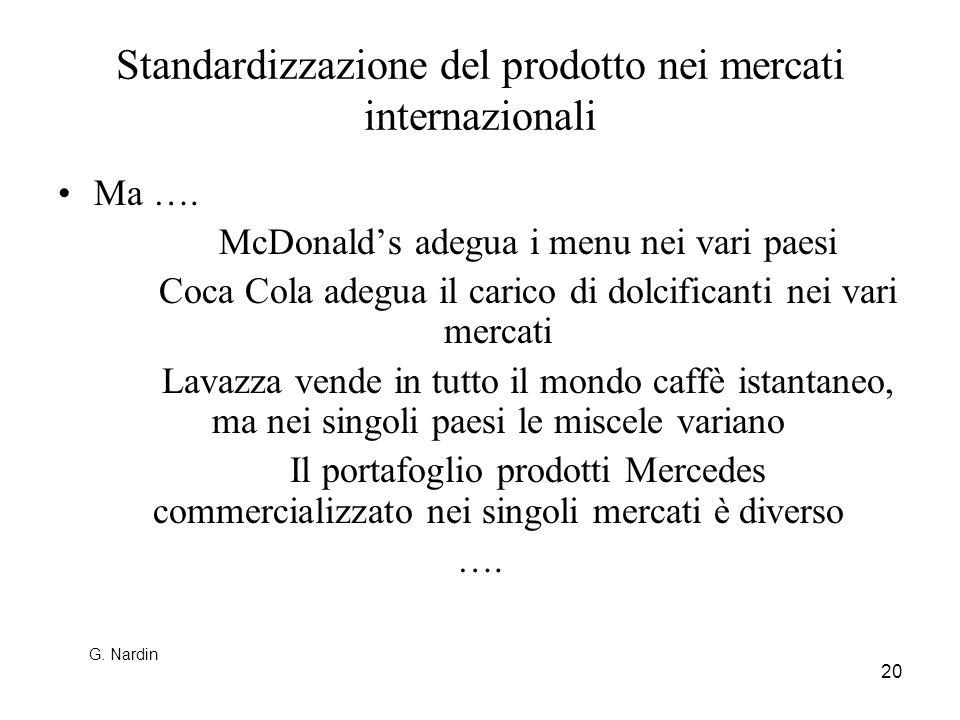 20 Standardizzazione del prodotto nei mercati internazionali Ma …. McDonalds adegua i menu nei vari paesi Coca Cola adegua il carico di dolcificanti n