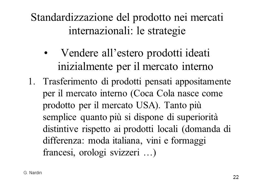 22 Standardizzazione del prodotto nei mercati internazionali: le strategie Vendere allestero prodotti ideati inizialmente per il mercato interno 1.Tra
