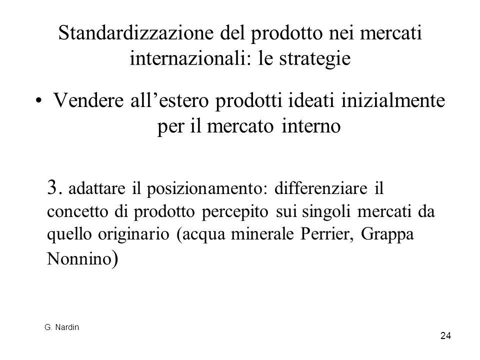 24 Standardizzazione del prodotto nei mercati internazionali: le strategie Vendere allestero prodotti ideati inizialmente per il mercato interno 3. ad