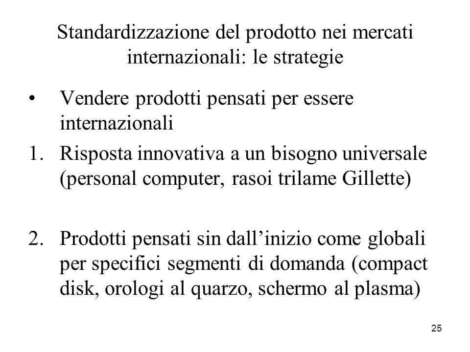 25 Standardizzazione del prodotto nei mercati internazionali: le strategie Vendere prodotti pensati per essere internazionali 1.Risposta innovativa a