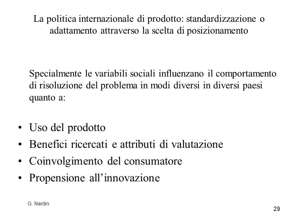 29 La politica internazionale di prodotto: standardizzazione o adattamento attraverso la scelta di posizionamento Specialmente le variabili sociali in