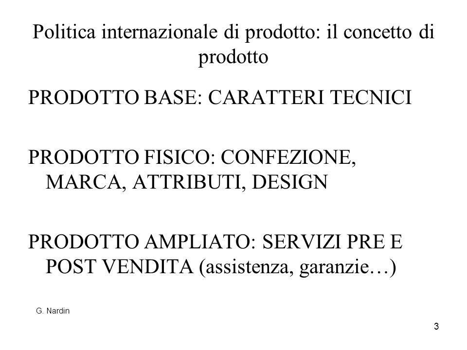 3 Politica internazionale di prodotto: il concetto di prodotto PRODOTTO BASE: CARATTERI TECNICI PRODOTTO FISICO: CONFEZIONE, MARCA, ATTRIBUTI, DESIGN