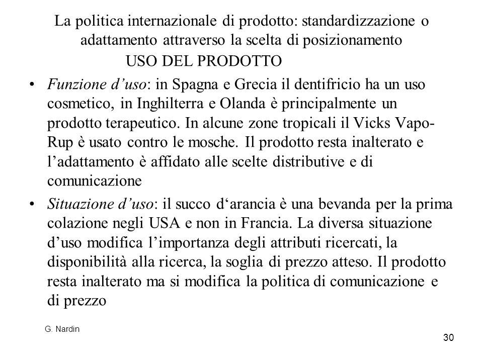 30 La politica internazionale di prodotto: standardizzazione o adattamento attraverso la scelta di posizionamento USO DEL PRODOTTO Funzione duso: in S