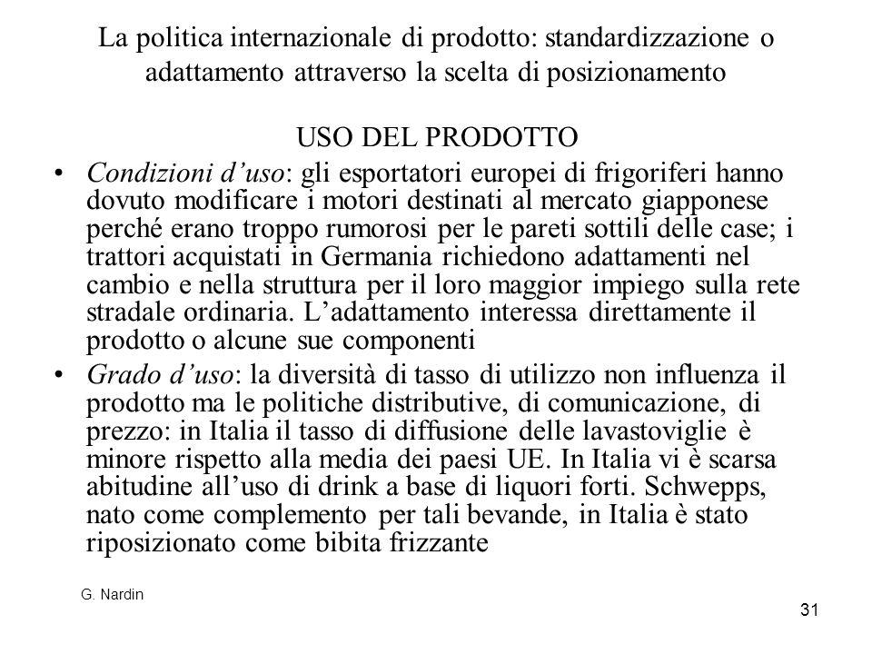31 La politica internazionale di prodotto: standardizzazione o adattamento attraverso la scelta di posizionamento USO DEL PRODOTTO Condizioni duso: gl