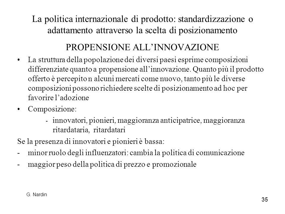 35 La politica internazionale di prodotto: standardizzazione o adattamento attraverso la scelta di posizionamento PROPENSIONE ALLINNOVAZIONE La strutt