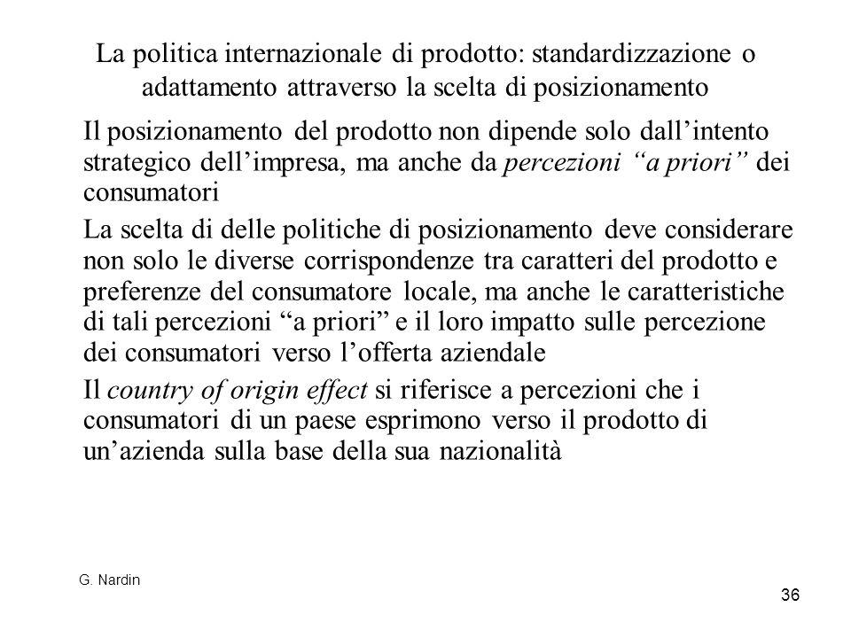 36 La politica internazionale di prodotto: standardizzazione o adattamento attraverso la scelta di posizionamento Il posizionamento del prodotto non d