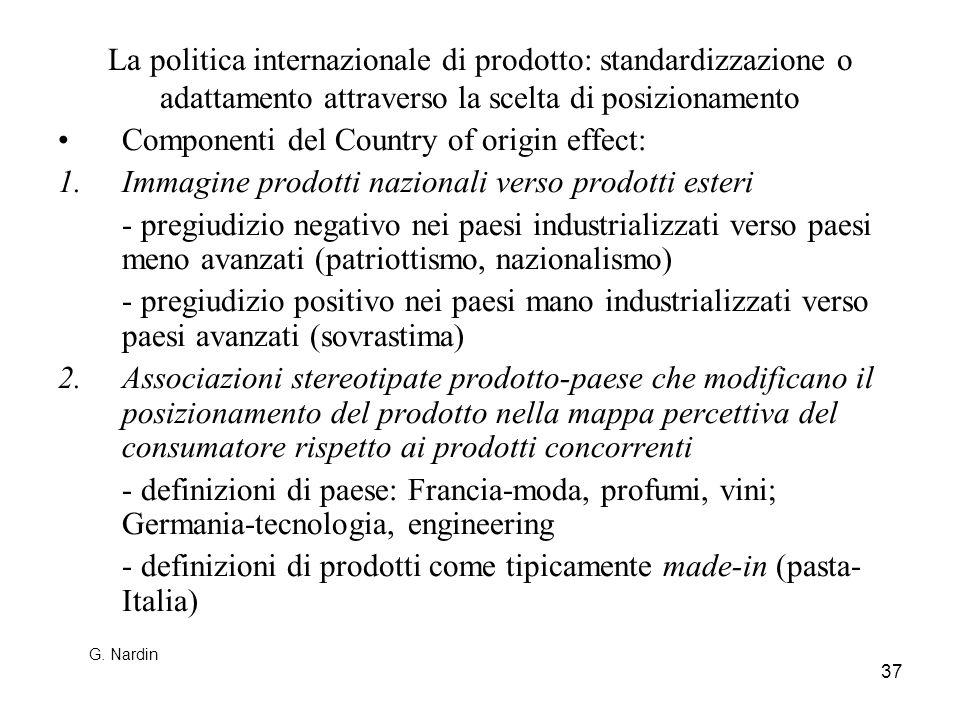 37 La politica internazionale di prodotto: standardizzazione o adattamento attraverso la scelta di posizionamento Componenti del Country of origin eff