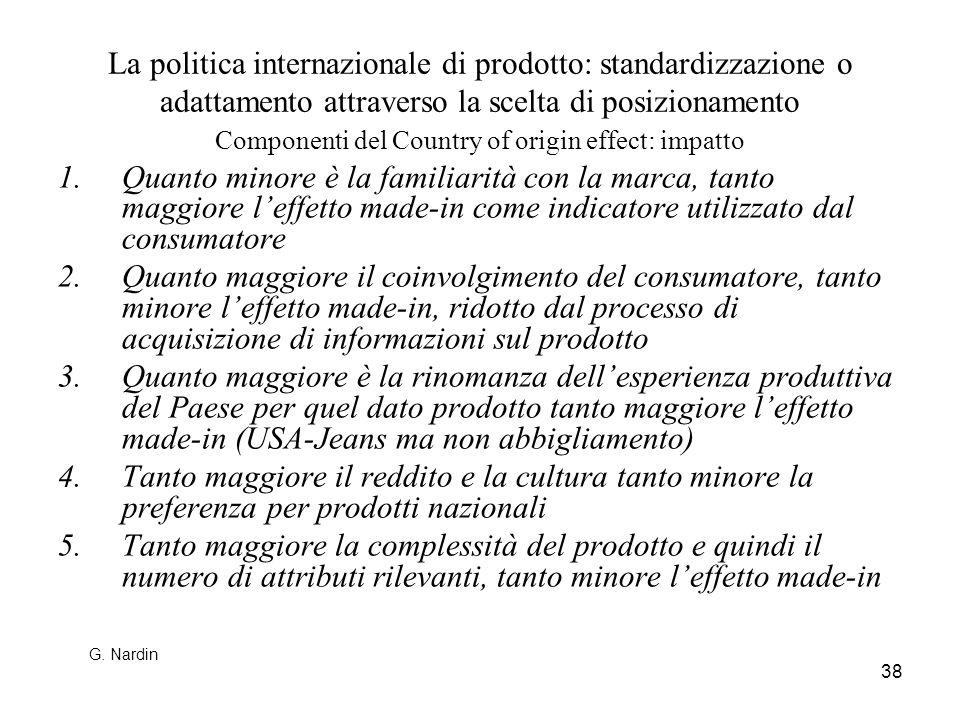 38 La politica internazionale di prodotto: standardizzazione o adattamento attraverso la scelta di posizionamento Componenti del Country of origin eff