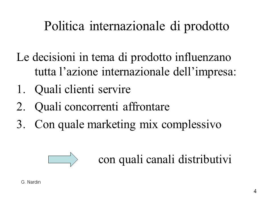 4 Politica internazionale di prodotto Le decisioni in tema di prodotto influenzano tutta lazione internazionale dellimpresa: 1.Quali clienti servire 2