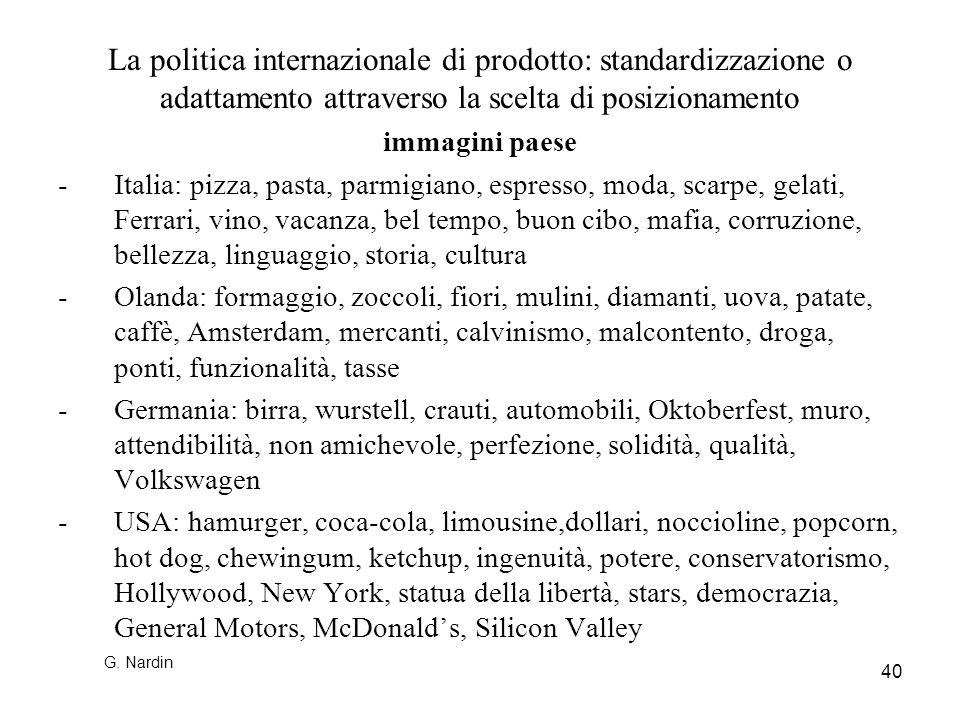 40 La politica internazionale di prodotto: standardizzazione o adattamento attraverso la scelta di posizionamento immagini paese -Italia: pizza, pasta