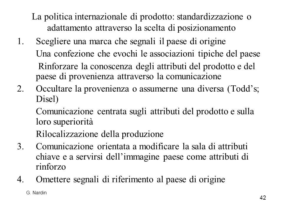 42 La politica internazionale di prodotto: standardizzazione o adattamento attraverso la scelta di posizionamento 1.Scegliere una marca che segnali il