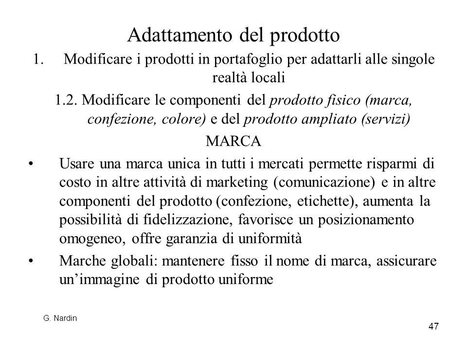 47 Adattamento del prodotto 1.Modificare i prodotti in portafoglio per adattarli alle singole realtà locali 1.2. Modificare le componenti del prodotto