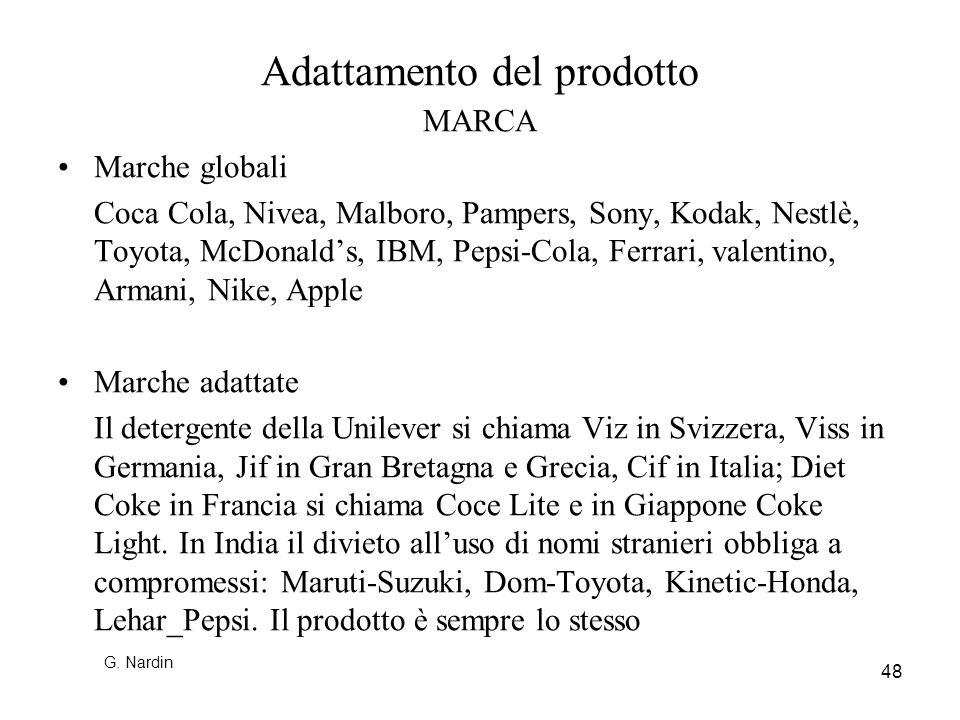 48 Adattamento del prodotto MARCA Marche globali Coca Cola, Nivea, Malboro, Pampers, Sony, Kodak, Nestlè, Toyota, McDonalds, IBM, Pepsi-Cola, Ferrari,