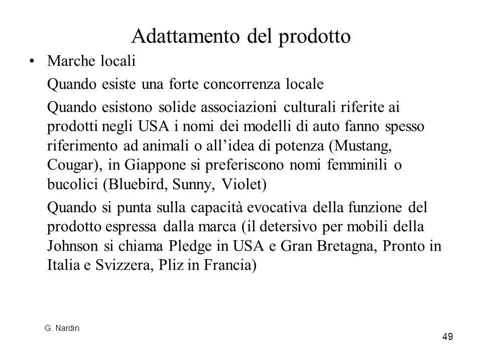 49 Adattamento del prodotto Marche locali Quando esiste una forte concorrenza locale Quando esistono solide associazioni culturali riferite ai prodott