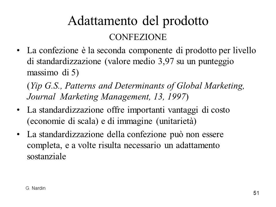 51 Adattamento del prodotto CONFEZIONE La confezione è la seconda componente di prodotto per livello di standardizzazione (valore medio 3,97 su un pun