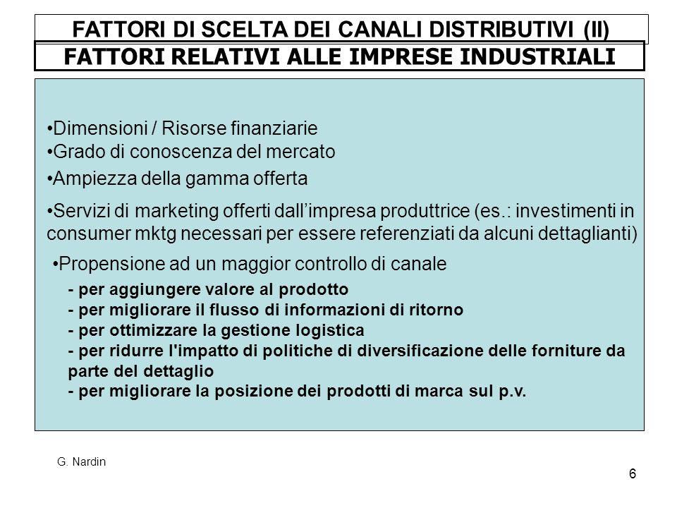6 FATTORI RELATIVI ALLE IMPRESE INDUSTRIALI Dimensioni / Risorse finanziarie Grado di conoscenza del mercato FATTORI DI SCELTA DEI CANALI DISTRIBUTIVI