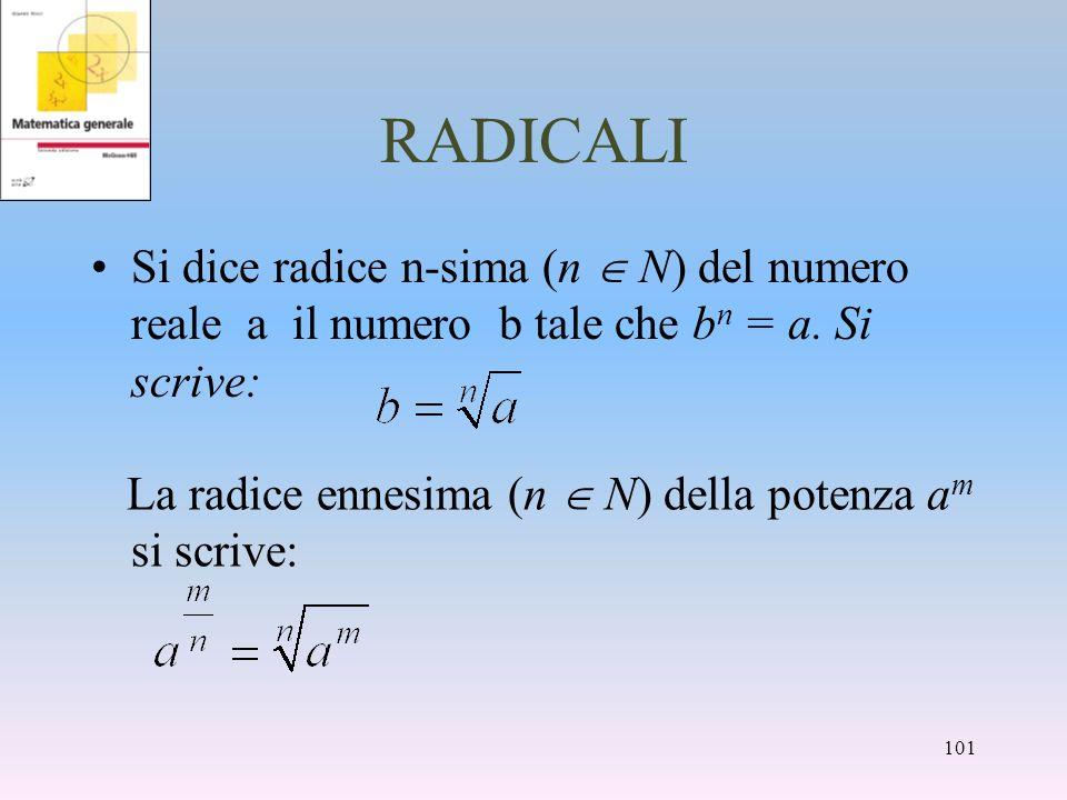 RADICALI Si dice radice n-sima (n N) del numero reale a il numero b tale che b n = a. Si scrive: La radice ennesima (n N) della potenza a m si scrive: