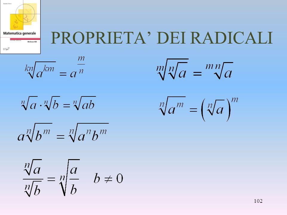 PROPRIETA DEI RADICALI 102