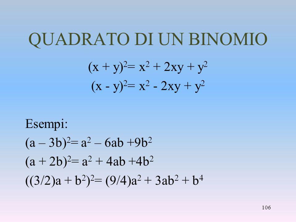 QUADRATO DI UN BINOMIO (x + y) 2 = x 2 + 2xy + y 2 (x - y) 2 = x 2 - 2xy + y 2 Esempi: (a – 3b) 2 = a 2 – 6ab +9b 2 (a + 2b) 2 = a 2 + 4ab +4b 2 ((3/2