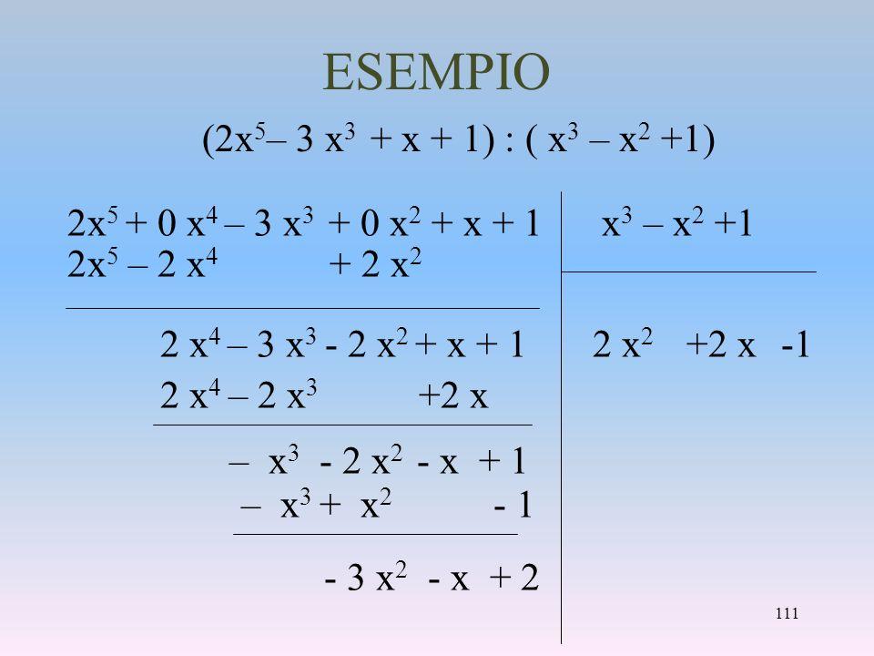 ESEMPIO 2x 5 + 0 x 4 – 3 x 3 + 0 x 2 + x + 1 x 3 – x 2 +1 2x 5 – 2 x 4 + 2 x 2 2 x 4 – 3 x 3 - 2 x 2 + x + 1 2 x 4 – 2 x 3 +2 x – x 3 - 2 x 2 - x + 1
