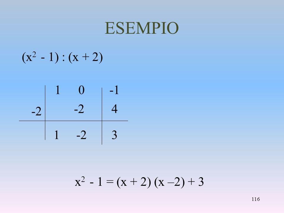 ESEMPIO (x 2 - 1) : (x + 2) x 2 - 1 = (x + 2) (x –2) + 3 1 -2 1 4 3 0 116