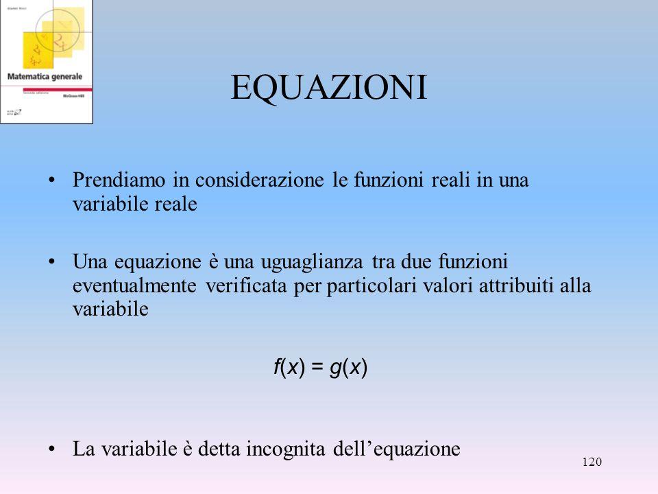 EQUAZIONI Prendiamo in considerazione le funzioni reali in una variabile reale Una equazione è una uguaglianza tra due funzioni eventualmente verifica