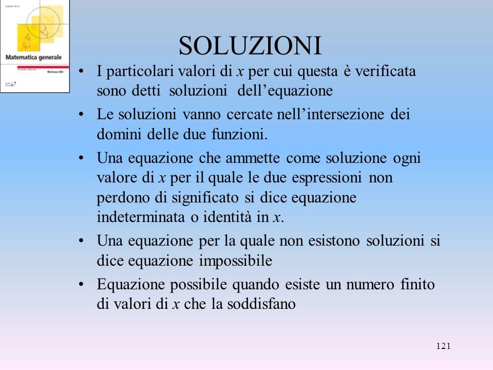 SOLUZIONI I particolari valori di x per cui questa è verificata sono detti soluzioni dellequazione Le soluzioni vanno cercate nellintersezione dei dom
