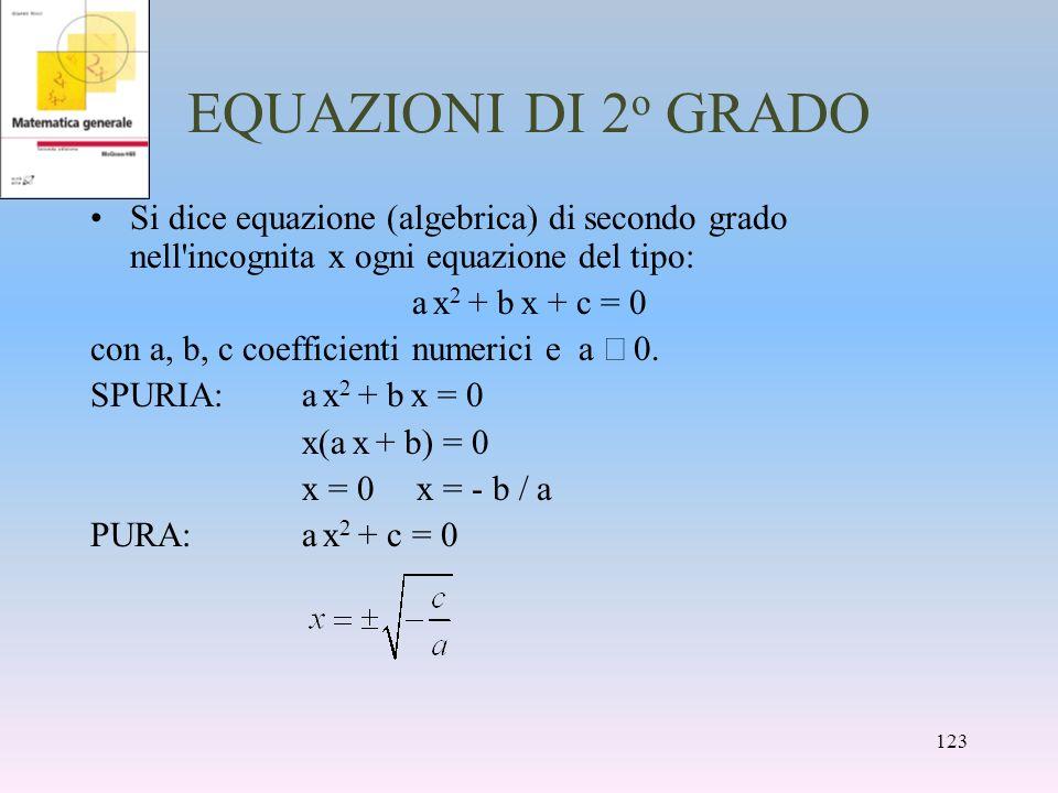 EQUAZIONI DI 2 o GRADO Si dice equazione (algebrica) di secondo grado nell'incognita x ogni equazione del tipo: a x 2 + b x + c = 0 con a, b, c coeffi