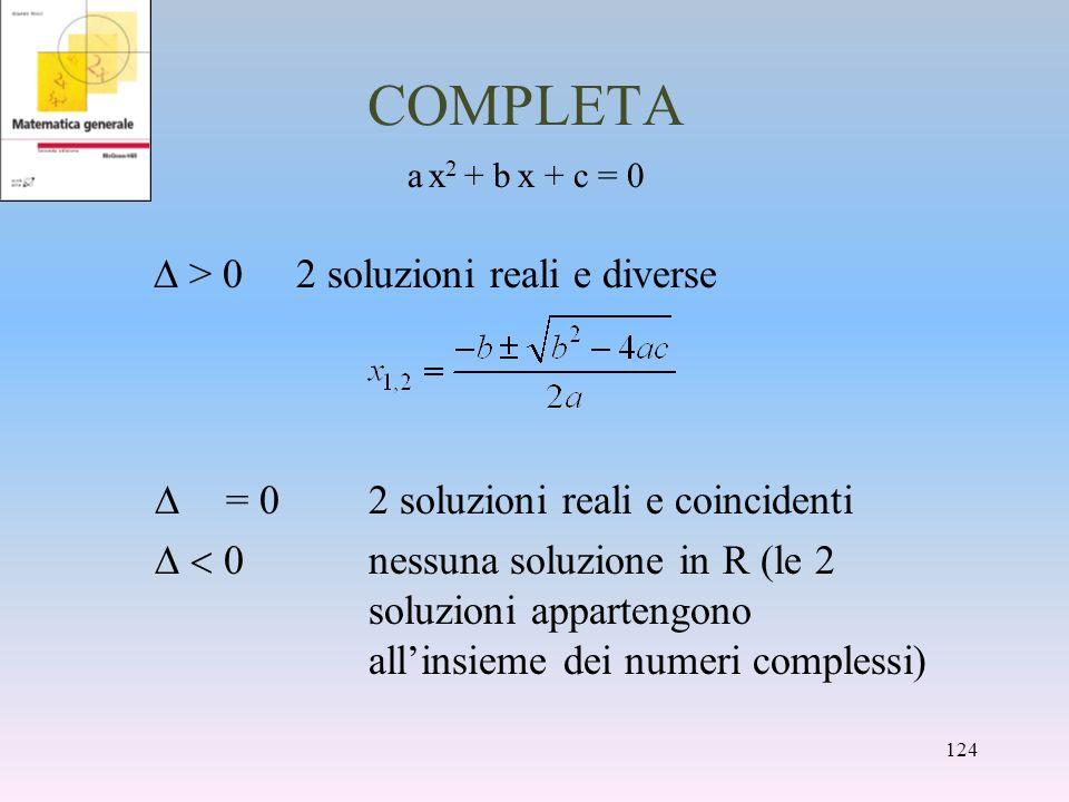 COMPLETA a x 2 + b x + c = 0 > 02 soluzioni reali e diverse = 02 soluzioni reali e coincidenti nessuna soluzione in R (le 2 soluzioni appartengono all