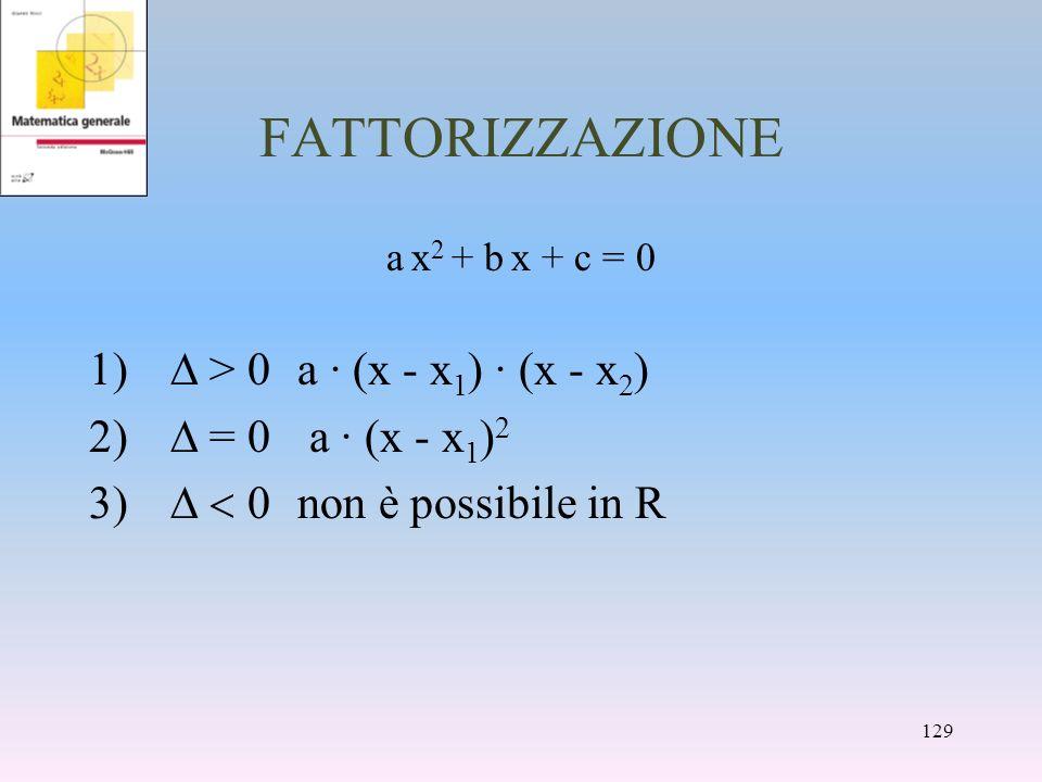 FATTORIZZAZIONE a x 2 + b x + c = 0 > 0a · (x - x 1 ) · (x - x 2 ) 2) = 0 a · (x - x 1 ) 2 non è possibile in R 129