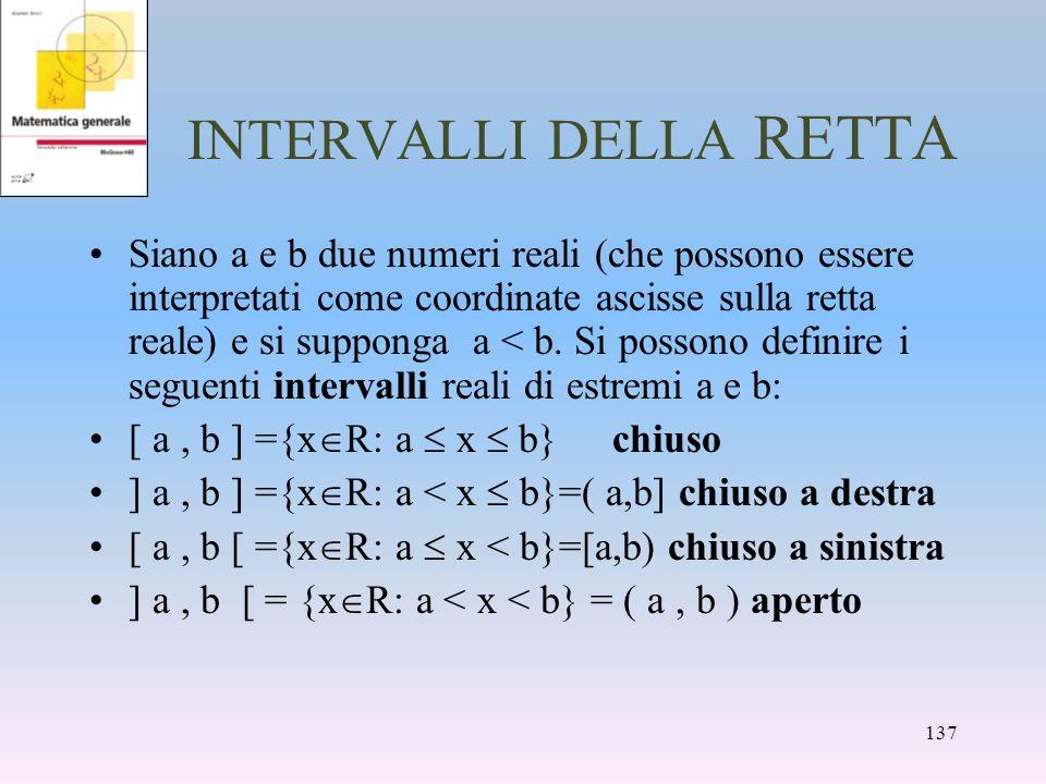 INTERVALLI DELLA RETTA Siano a e b due numeri reali (che possono essere interpretati come coordinate ascisse sulla retta reale) e si supponga a < b. S