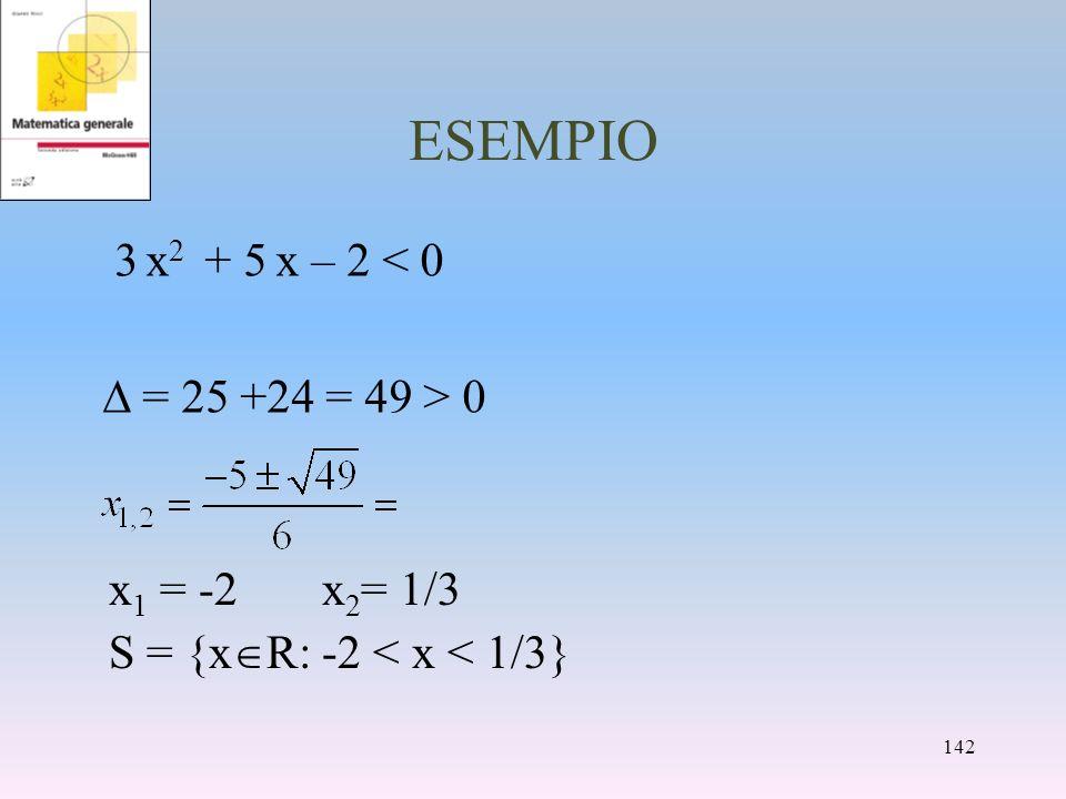 ESEMPIO 3 x 2 + 5 x – 2 < 0 = 25 +24 = 49 > 0 x 1 = -2x 2 = 1/3 S = {x R: -2 < x < 1/3} 142